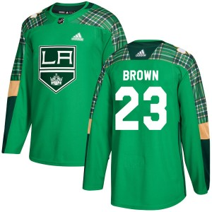 Dustin Brown Los Angeles Kings Men's Adidas Authentic Green St. Patrick's Day Practice Jersey