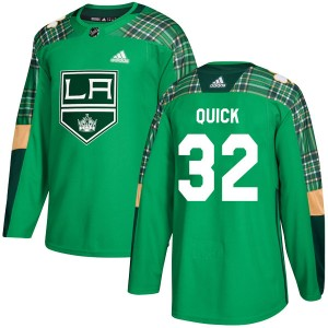 Jonathan Quick Los Angeles Kings Men's Adidas Authentic Green St. Patrick's Day Practice Jersey