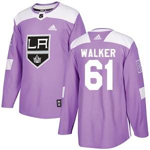 Sean Walker Los Angeles Kings Men's Adidas Authentic Purple Fights Cancer Practice Jersey