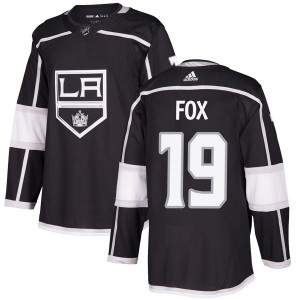 Jim Fox Los Angeles Kings Men's Adidas Authentic Black Home Jersey