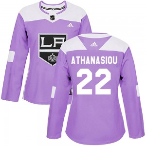 Andreas Athanasiou Los Angeles Kings Women's Adidas Authentic Purple Fights Cancer Practice Jersey