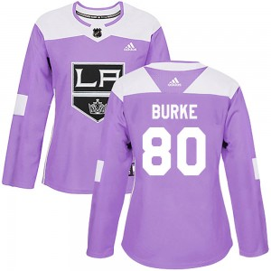 Brayden Burke Los Angeles Kings Women's Adidas Authentic Purple Fights Cancer Practice Jersey