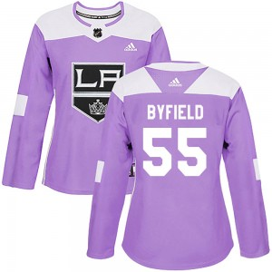Quinton Byfield Los Angeles Kings Women's Adidas Authentic Purple Fights Cancer Practice Jersey
