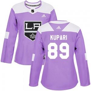 Rasmus Kupari Los Angeles Kings Women's Adidas Authentic Purple Fights Cancer Practice Jersey