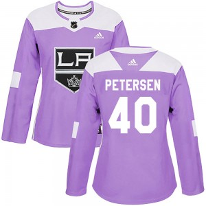 Cal Petersen Los Angeles Kings Women's Adidas Authentic Purple Fights Cancer Practice Jersey