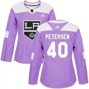 Calvin Petersen Los Angeles Kings Women's Adidas Authentic Purple Fights Cancer Practice Jersey