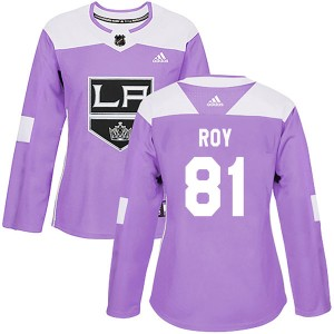 Matt Roy Los Angeles Kings Women's Adidas Authentic Purple Fights Cancer Practice Jersey