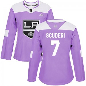 Rob Scuderi Los Angeles Kings Women's Adidas Authentic Purple Fights Cancer Practice Jersey