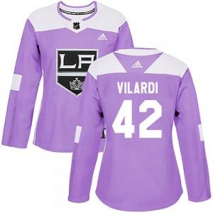 Gabriel Vilardi Los Angeles Kings Women's Adidas Authentic Purple ized Fights Cancer Practice Jersey