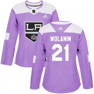 Christian Wolanin Los Angeles Kings Women's Adidas Authentic Purple Fights Cancer Practice Jersey