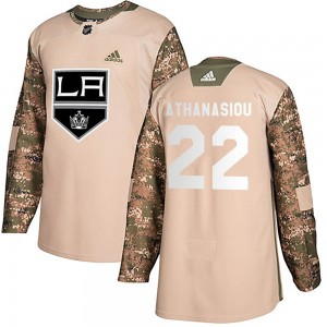 Andreas Athanasiou Los Angeles Kings Youth Adidas Authentic Camo Veterans Day Practice Jersey