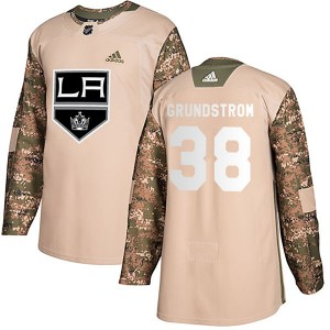 Carl Grundstrom Los Angeles Kings Youth Adidas Authentic Camo Veterans Day Practice Jersey