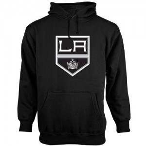 Los Angeles Kings Men's Black Old Time Hockey Big Logo with Crest Pullover Hoodie