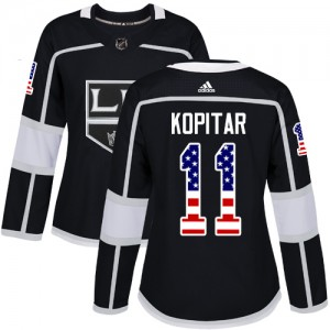 Anze Kopitar Los Angeles Kings Women's Adidas Authentic Black USA Flag Fashion Jersey