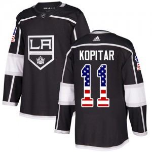 Anze Kopitar Los Angeles Kings Youth Adidas Authentic Black USA Flag Fashion Jersey