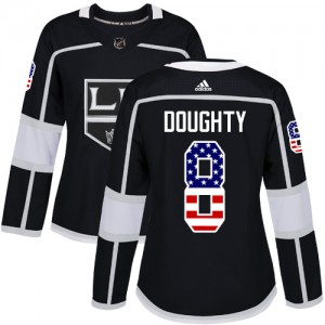 Drew Doughty Los Angeles Kings Women's Adidas Authentic Black USA Flag Fashion Jersey