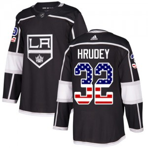 Kelly Hrudey Los Angeles Kings Men's Adidas Authentic Black USA Flag Fashion Jersey