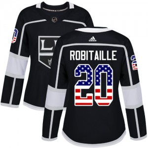 Luc Robitaille Los Angeles Kings Women's Adidas Authentic Black USA Flag Fashion Jersey