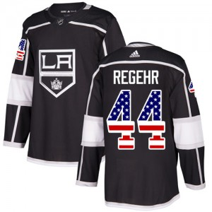 Robyn Regehr Los Angeles Kings Youth Adidas Authentic Black USA Flag Fashion Jersey
