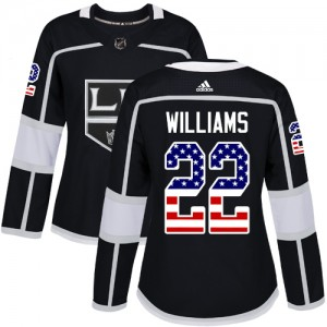 Tiger Williams Los Angeles Kings Women's Adidas Authentic Black USA Flag Fashion Jersey