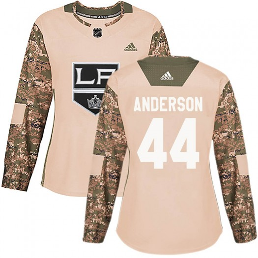Mikey Anderson Los Angeles Kings Women's Adidas Authentic Camo ized Veterans Day Practice Jersey