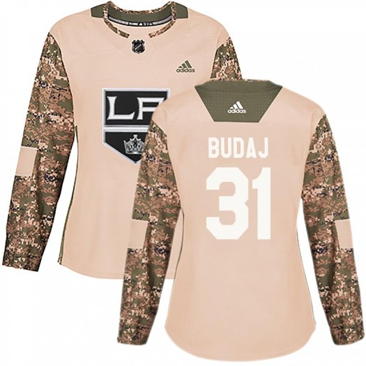 Peter Budaj Los Angeles Kings Women's Adidas Authentic Camo Veterans Day Practice Jersey