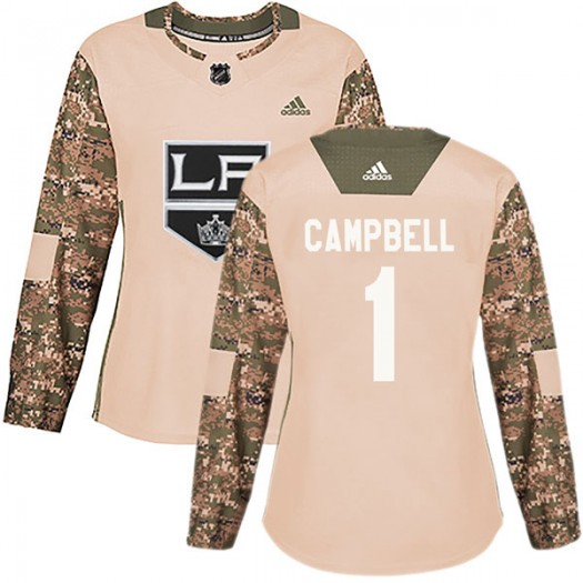 Jack Campbell Los Angeles Kings Women's Adidas Authentic Camo Veterans Day Practice Jersey