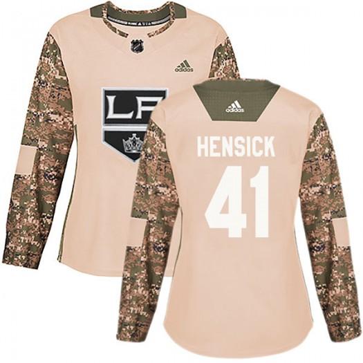 T.J. Hensick Los Angeles Kings Women's Adidas Authentic Camo Veterans Day Practice Jersey