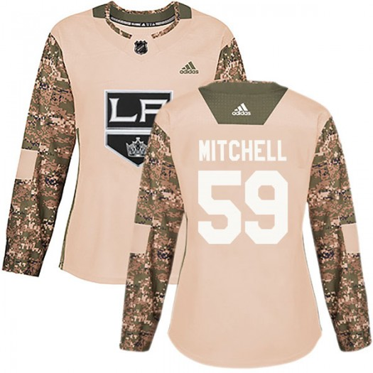 Zack Mitchell Los Angeles Kings Women's Adidas Authentic Camo Veterans Day Practice Jersey