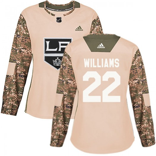 Tiger Williams Los Angeles Kings Women's Adidas Authentic Camo Veterans Day Practice Jersey