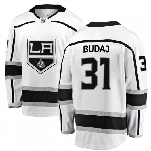 Peter Budaj Los Angeles Kings Men's Fanatics Branded White Breakaway Away Jersey