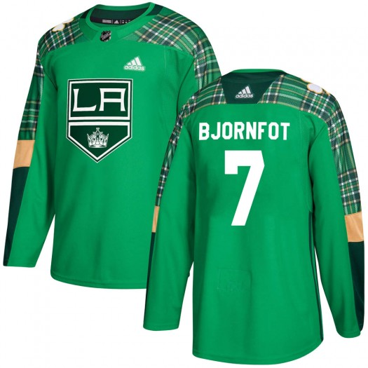 Tobias Bjornfot Los Angeles Kings Men's Adidas Authentic Green St. Patrick's Day Practice Jersey