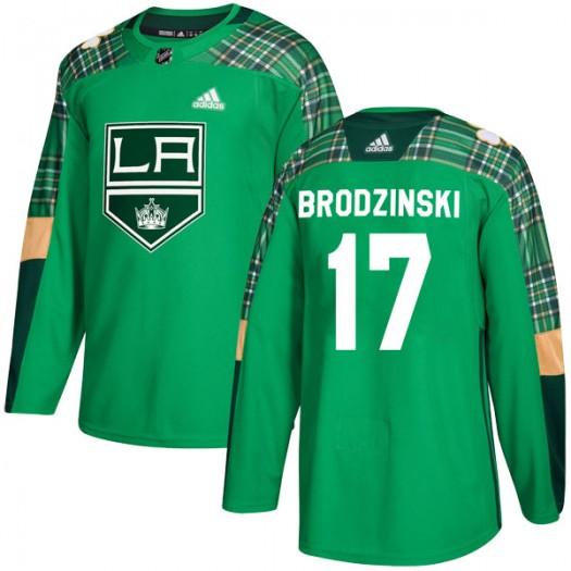 Jonny Brodzinski Los Angeles Kings Men's Adidas Authentic Green St. Patrick's Day Practice Jersey