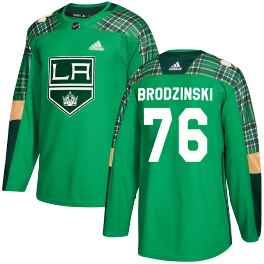 Jonny Brodzinski Los Angeles Kings Men's Adidas Authentic Green St. Patrick's Day Practice Jersey