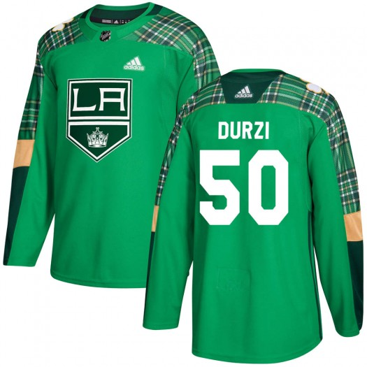 Sean Durzi Los Angeles Kings Men's Adidas Authentic Green St. Patrick's Day Practice Jersey