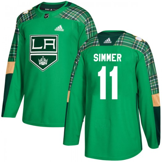 Charlie Simmer Los Angeles Kings Men's Adidas Authentic Green St. Patrick's Day Practice Jersey