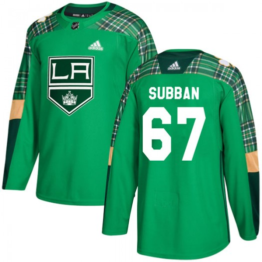 Jordan Subban Los Angeles Kings Men's Adidas Authentic Green St. Patrick's Day Practice Jersey