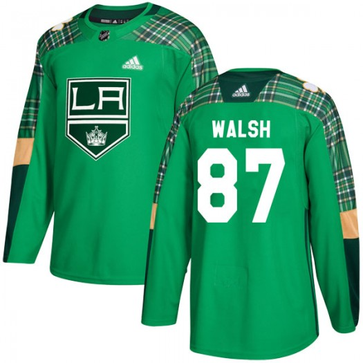 Shane Walsh Los Angeles Kings Men's Adidas Authentic Green St. Patrick's Day Practice Jersey