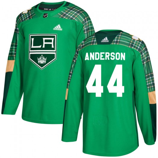 Mikey Anderson Los Angeles Kings Youth Adidas Authentic Green ized St. Patrick's Day Practice Jersey