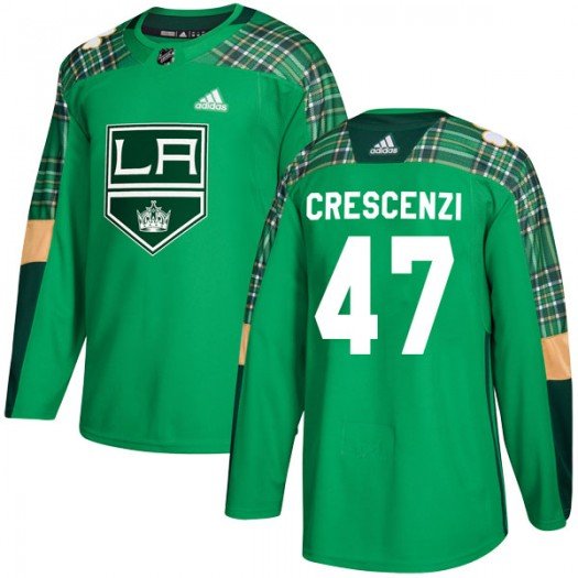 Andrew Crescenzi Los Angeles Kings Youth Adidas Authentic Green St. Patrick's Day Practice Jersey