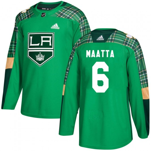 Olli Maatta Los Angeles Kings Youth Adidas Authentic Green St. Patrick's Day Practice Jersey