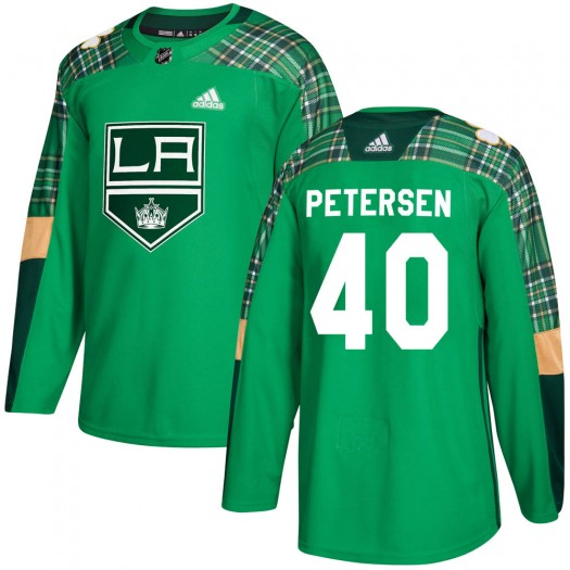 Calvin Petersen Los Angeles Kings Youth Adidas Authentic Green St. Patrick's Day Practice Jersey