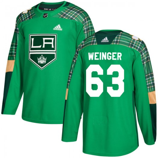 Evan Weinger Los Angeles Kings Youth Adidas Authentic Green St. Patrick's Day Practice Jersey