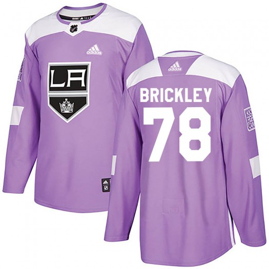 Daniel Brickley Los Angeles Kings Men's Adidas Authentic Purple Fights Cancer Practice Jersey