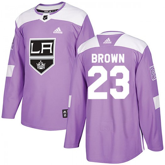 Dustin Brown Los Angeles Kings Men's Adidas Authentic Purple Fights Cancer Practice Jersey