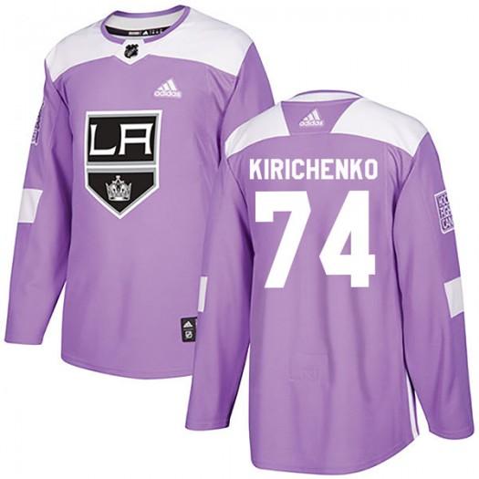 Clayton Kirichenko Los Angeles Kings Men's Adidas Authentic Purple Fights Cancer Practice Jersey