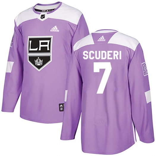 Rob Scuderi Los Angeles Kings Men's Adidas Authentic Purple Fights Cancer Practice Jersey