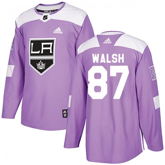 Shane Walsh Los Angeles Kings Men's Adidas Authentic Purple Fights Cancer Practice Jersey