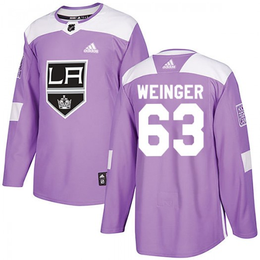 Evan Weinger Los Angeles Kings Men's Adidas Authentic Purple Fights Cancer Practice Jersey