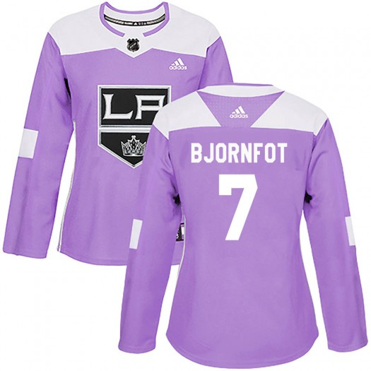 Tobias Bjornfot Los Angeles Kings Women's Adidas Authentic Purple Fights Cancer Practice Jersey